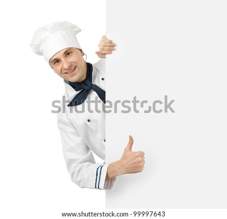 happy chef showing thumb up sign - stock photo