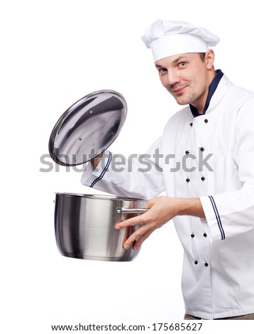 happy chief with pot in his hand isolated over white - stock photo