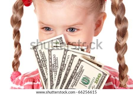 Happy child holding money dollar. Isolated. - stock photo