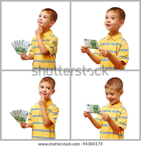 Happy child holding money in hand isolated on white background - stock photo