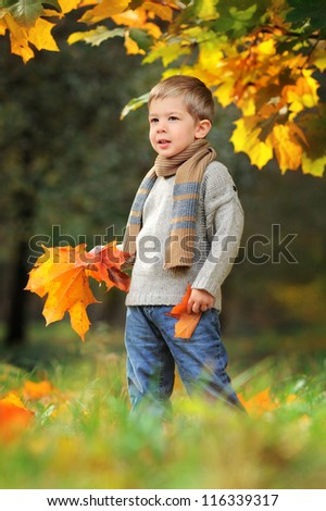 happy child in autumn park with yellow leaves in hands - stock photo