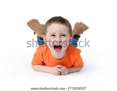Happy child laughing on white background - stock photo