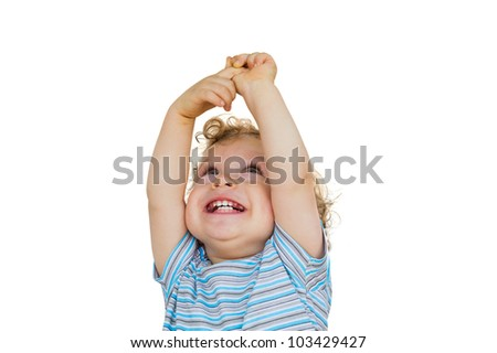 Happy child looking up - stock photo