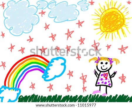 Happy child's drawing of herself - stock photo