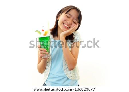 Happy child with beverage - stock photo