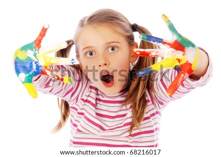 Happy child with colorful painted hands. Isolated. - stock photo