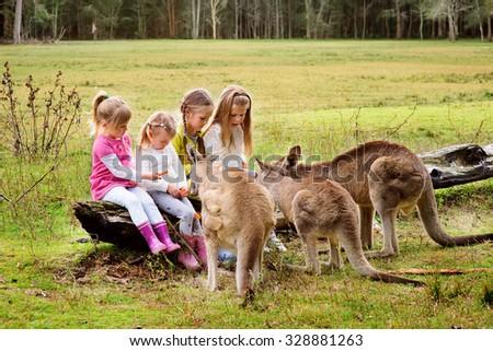 Happy children feeding kangaroo at zoo - stock photo