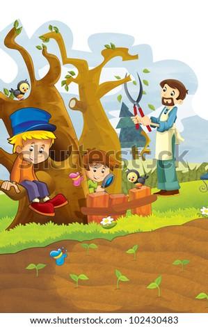 happy children having fun in the vegetable garden 2 - stock photo
