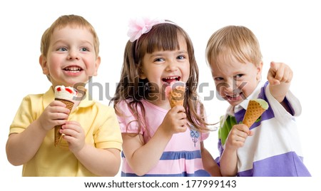 happy children or kids group with ice cream isolated on white - stock photo
