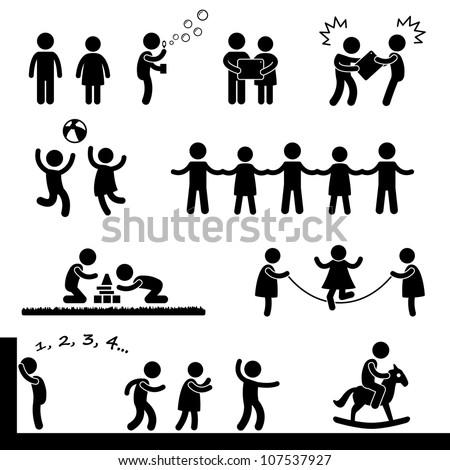 Happy Children Playing Icon Symbol Sign Pictogram - stock photo