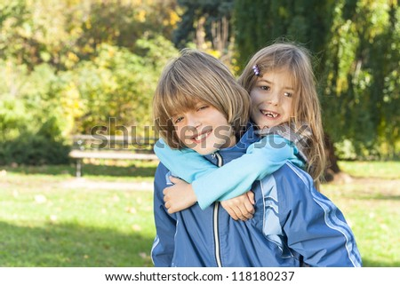 happy children playing in nature - stock photo