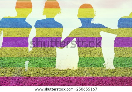 Happy children together running on grass double exposure - stock photo
