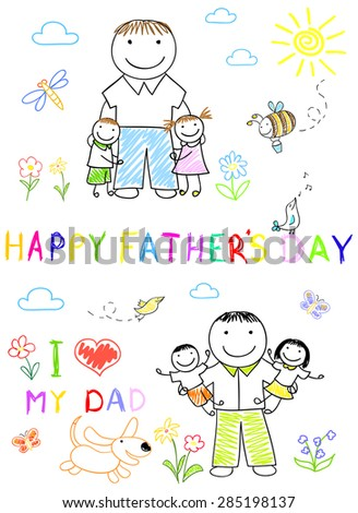 Happy children with dad. Sketch on notebook page - stock photo