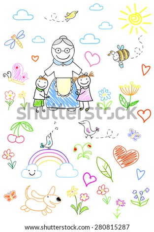 Happy children with grandmother - stock photo