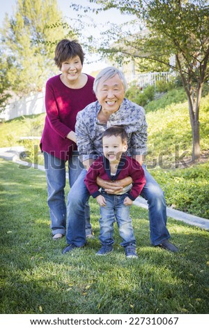 Happy Chinese Grandparents Having Fun with Their Mixed Race Grandson Outside. - stock photo