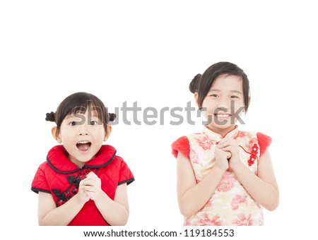happy chinese new year. two asian girls with Congratulation gesture - stock photo