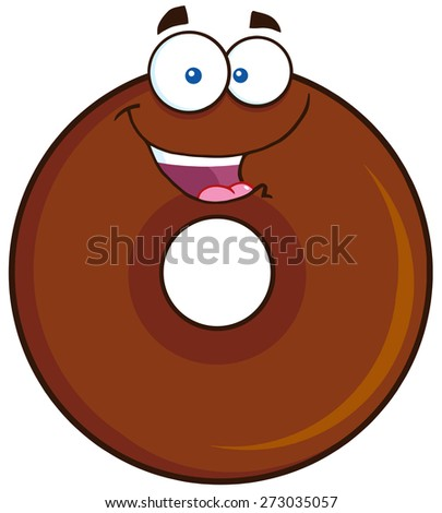 Happy Chocolate Donut Cartoon Character. Raster Illustration Isolated On White - stock photo