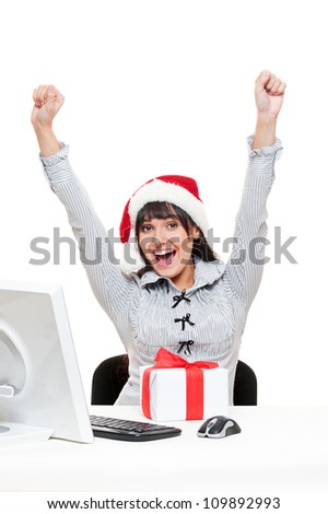happy christmas businesswoman in office - stock photo