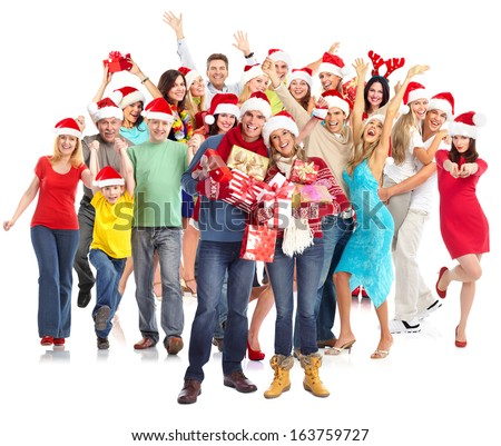 Happy Christmas people group with gifts isolated on white. - stock photo