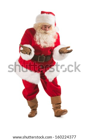 Happy Christmas Santa Claus with a funky welcome gesture. Isolated on white background. Full length - stock photo