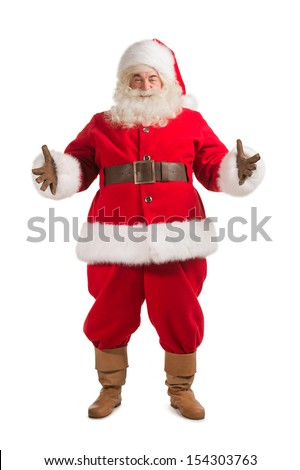 Happy Christmas Santa Claus with a welcome gesture. Isolated on white background. Full length - stock photo