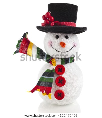 Happy Christmas snowman , isolated on white background - stock photo