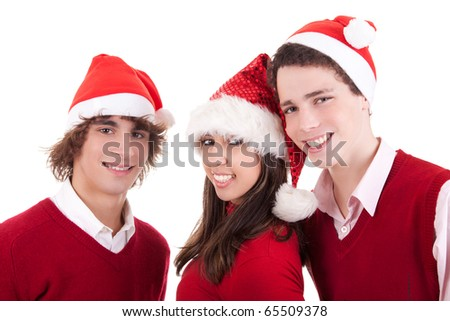 Happy christmas teens, isolated on white background, studio shot. - stock photo