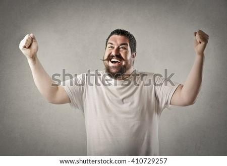 Happy chubby man - stock photo