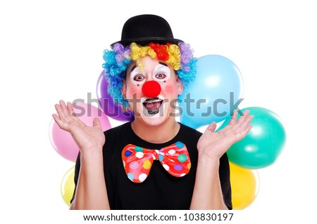 Happy clown on a white background - stock photo