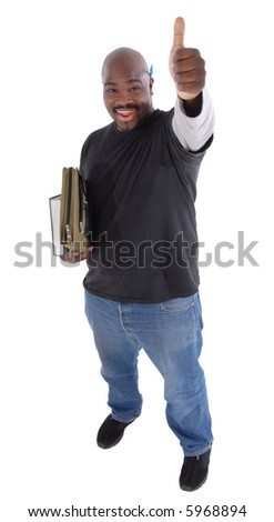 Happy college student giving thumbs up; full body isolated on white - stock photo