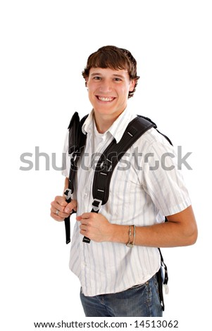 Happy College Student with Backpack Isolated on White Background - stock photo