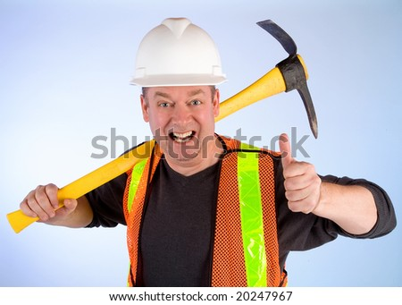 Happy Construction Worker - stock photo