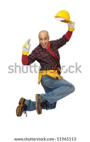 Happy construction worker jumping isolated in white - stock photo