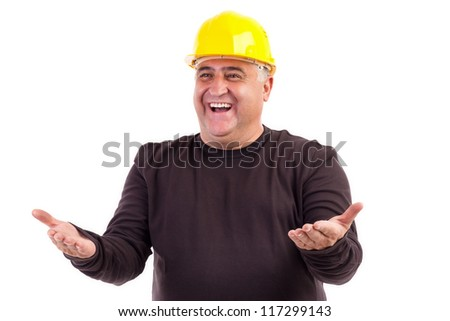 Happy construction worker with his arms outstretched isolated on white background - stock photo