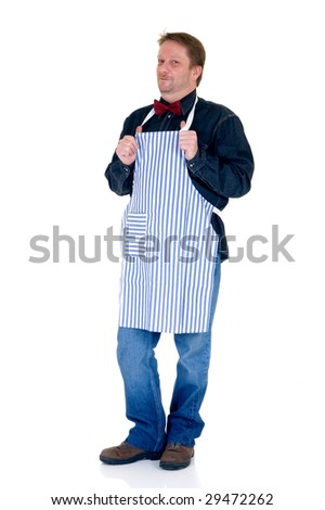 Happy cook on white background, reflective surface - stock photo