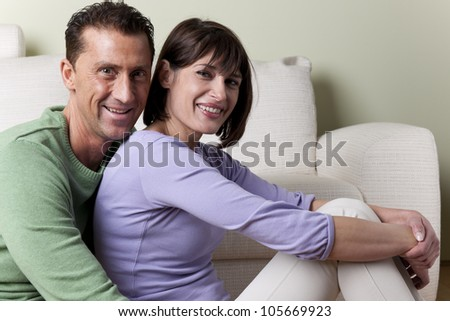 Happy coupke at home - stock photo