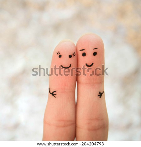 Happy couple. A man and a woman hug.  - stock photo