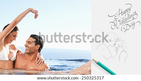 Happy couple enjoying time together in the pool against cute valentines message - stock photo