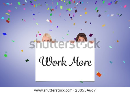 Happy Couple hiding behind a whiteboard against white card - stock photo