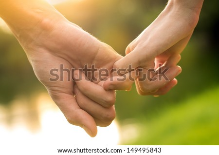 Happy couple holding hands in the sunset  - stock photo