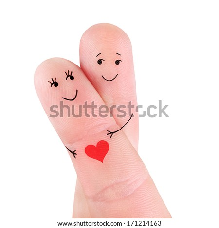 happy couple hug one another with heart concept, painted at fingers isolated on white background - stock photo