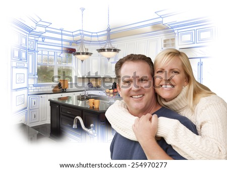 Happy Couple Hugging with Custom Kitchen Drawing and Photo Behind on White. - stock photo