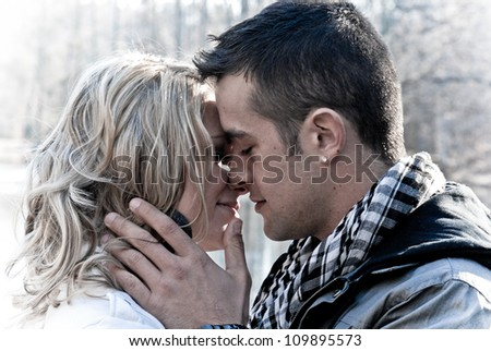 Happy Couple In Love Kissing - stock photo