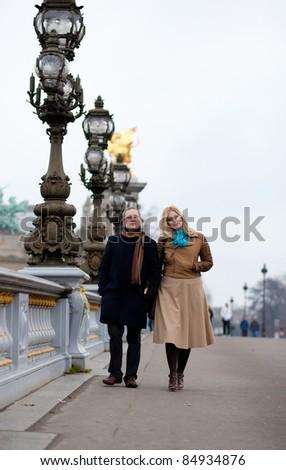 Happy couple in Paris - stock photo