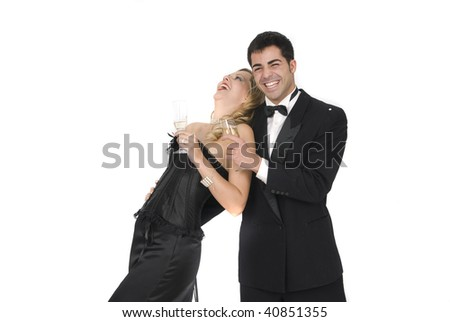 happy couple laughing in a celebration party - stock photo