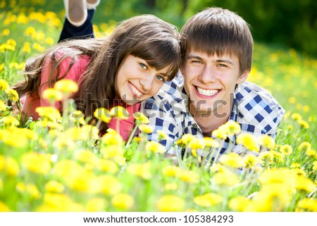 Happy couple lying on a meadow in summer - stock photo