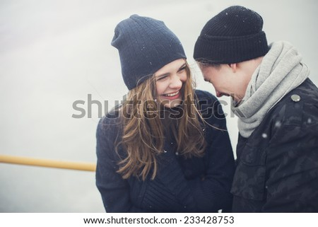 happy couple of young lovers - stock photo