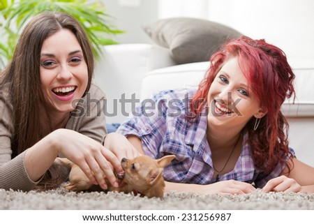 happy couple of young women playing with a small dog in their living room - stock photo