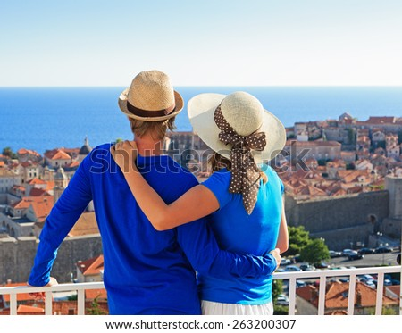 happy couple on summer vacation in Europe, Croatia - stock photo