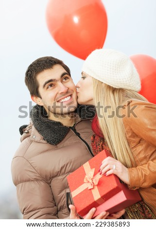 Happy couple on Valentine's Day - stock photo
